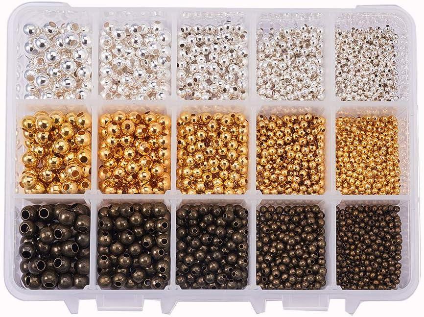 PandaHall 1 Box Environ 2700pcs Or, Argenterie, Bronze Antique 3 Couleur 5 Taille Lisse Rondes Perles en M/étal Minuscule Entretoise Perles Rondes pour la Fabrication de Bijoux