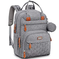 Diaper Bag Backpack, Unisex Baby bags with Changing pad, Insulated Pockets & Pacifier Holder, WELAVILA Large Multifunction Travel Back Pack for Mom & Dad, Gray