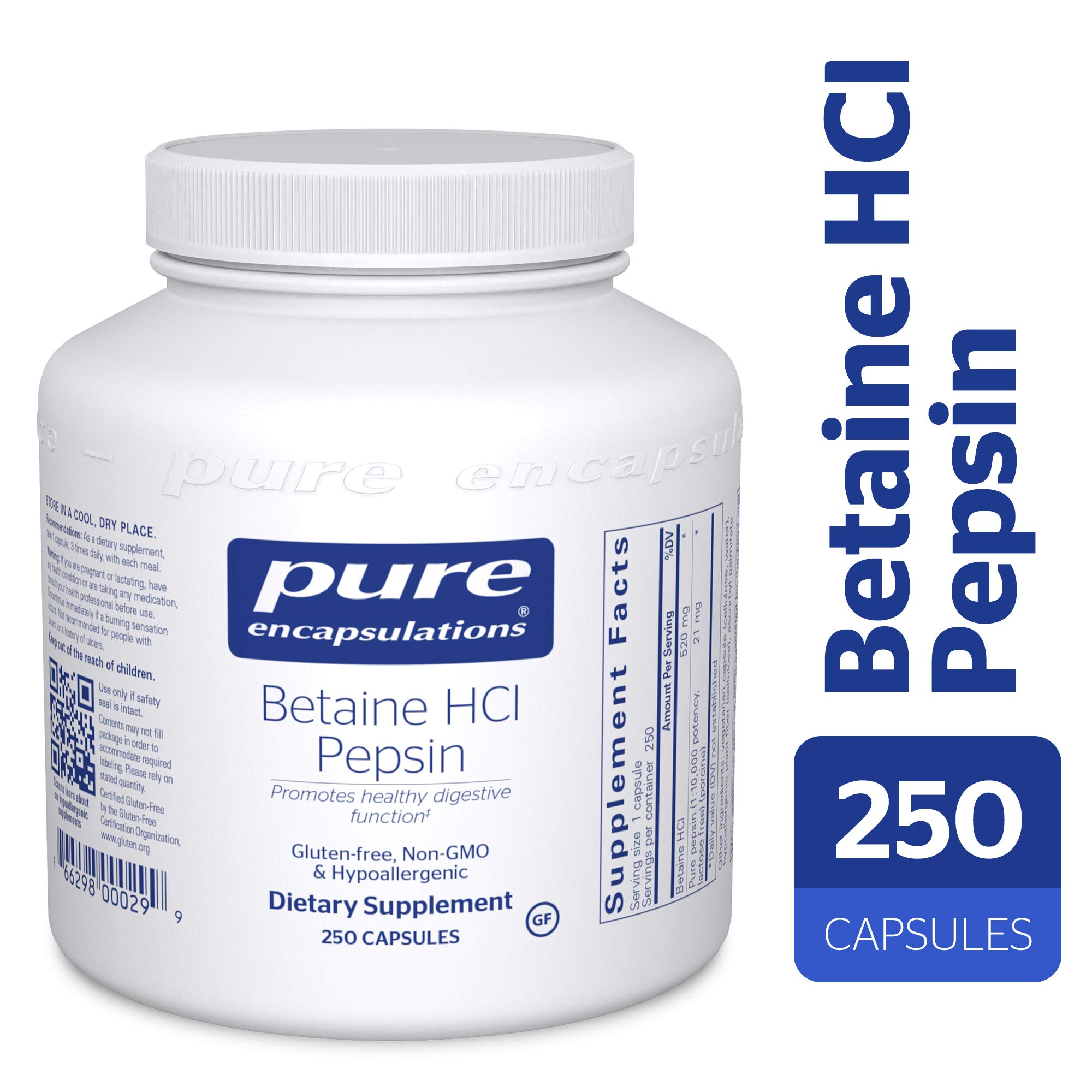 Pure Encapsulations - Betaine HCl/Pepsin - Hypoallergenic Dietary Supplement to Support a Healthy Digestive Tract* - 250 Capsules