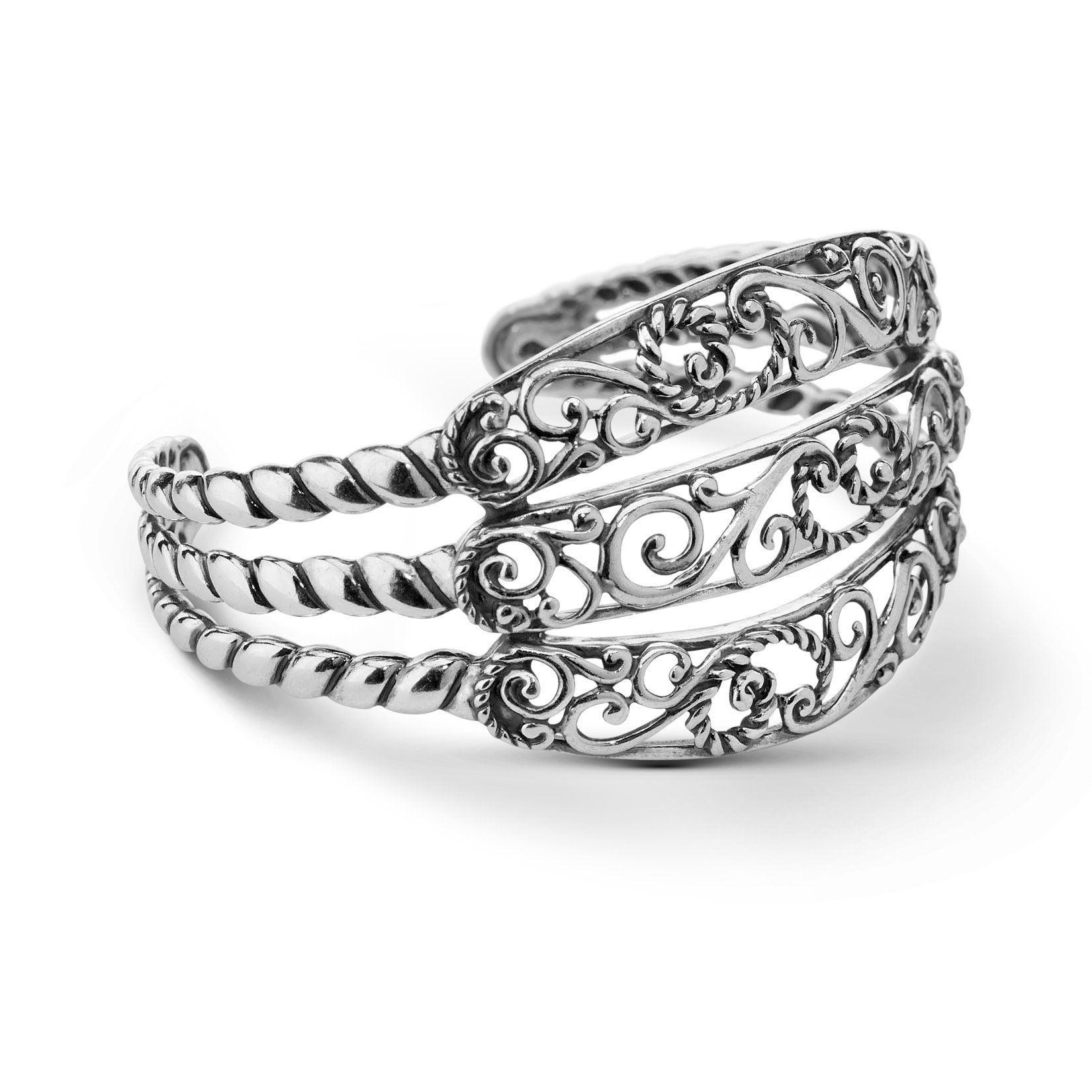 Carolyn Pollack Signature Genuine .925 Sterling Silver Three Row Cuff Bracelet