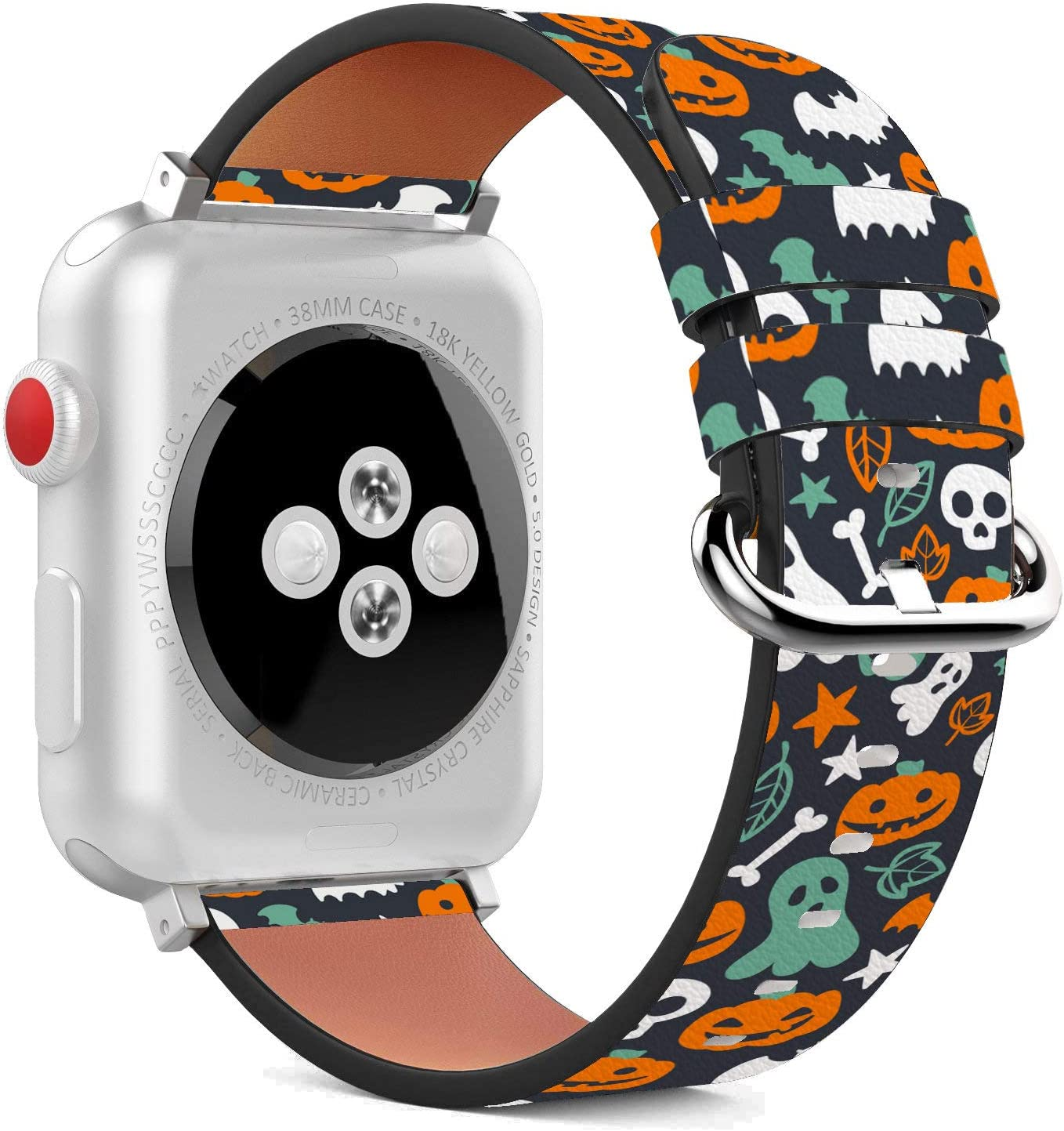 Compatible with Apple Watch - 38mm / 40mm (Serie 5,4,3,2,1) Leather Wristband Bracelet with Stainless Steel Clasp and Adapters - Cute Halloween