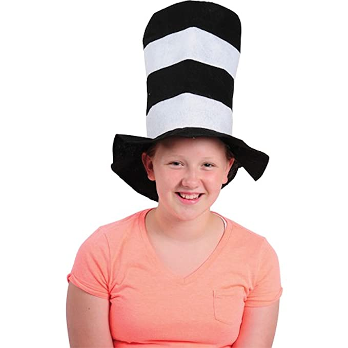 Amazon.com  Black And White Striped Stove Pipe Felt Hat (1)  Toys   Games 365031a4f170