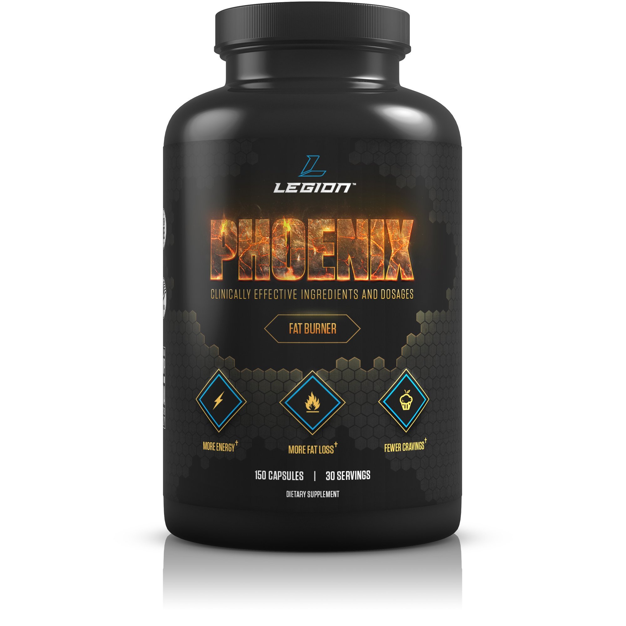 Legion Athletics Phoenix Fat Burner (Caffeine Free) - Appetite Suppressant for Faster Weight Loss - 100% Natural & Scientifically Validated Formulation Including Forskolin, Naringin, More - 30 Svgs