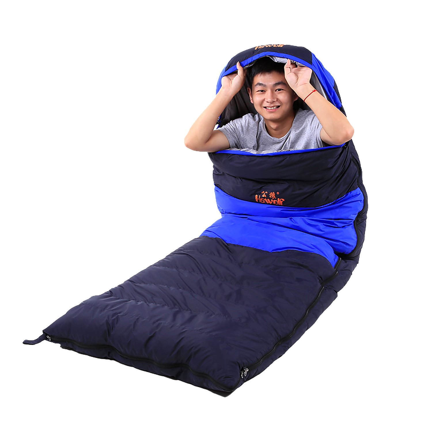 Hewolf Extreme 4 SeasonsWinter Ultra Light Sleeping Bag Duck Down for Adults Camping (blue, Duck Down1000g (total weight 1800g); -10~5 degree) by Hewolf
