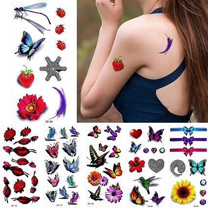 6 hojas 3d de color dibujo temporal tatuaje Pegatina para las mujeres cuerpo pecho brazo Art