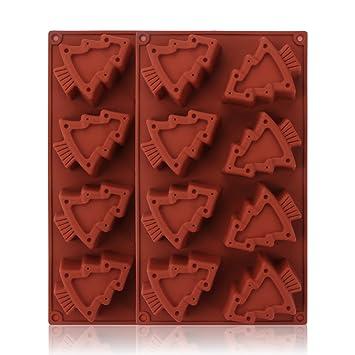beasea 2pcs 8 candies premium silicone christmas candy molds christmas tree shaped silicone cookie chocolate baking