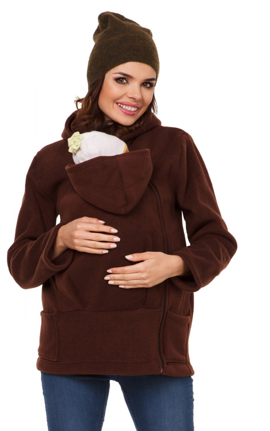 Zeta Ville - Women's Top Maternity Hooded Sweatshirt Babywearing Carrier - 031c carrier_top_031