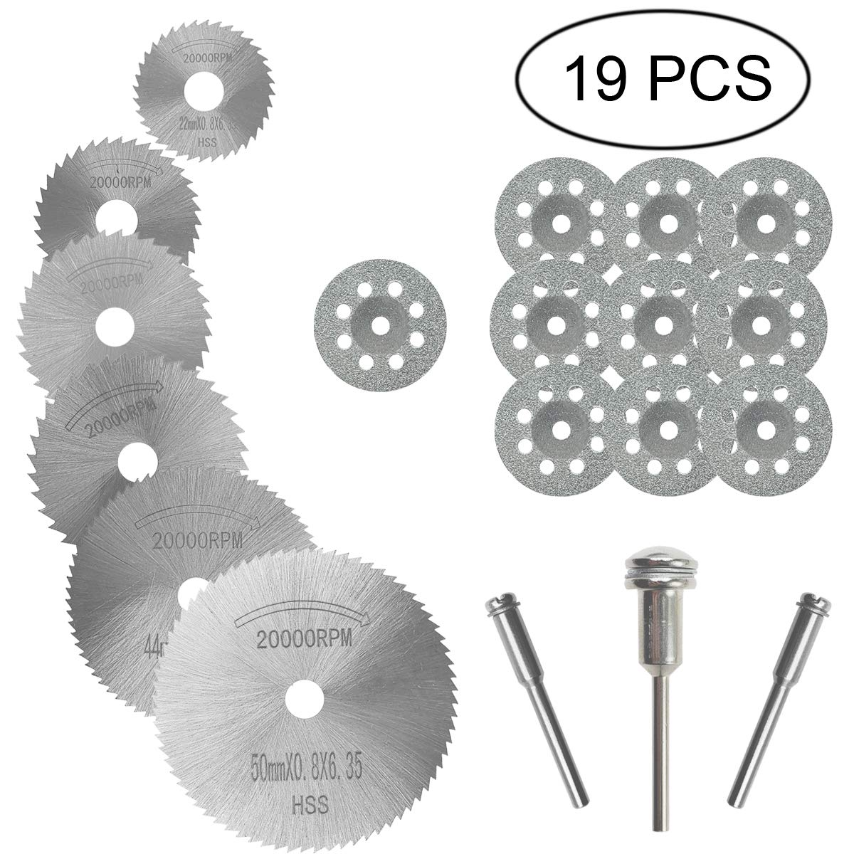 M-jump 19 PCS Rotary Cutting Wheels Tool Kit, Mini Diamond Cutting Wheel and HSS Circular Saw Blades Metal Cutting Wheels Tools Wood Metal Stone Cutting