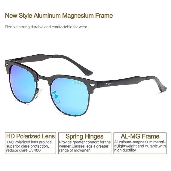 9c1d223efd9 ... Aluminum Magnesium Frame Wayfarer Sun Glasses Men Women Vintage Brand  Designer Half Frame Rivet Driving Glasses (Blue Lens Black AL-MG Frame)   Clothing