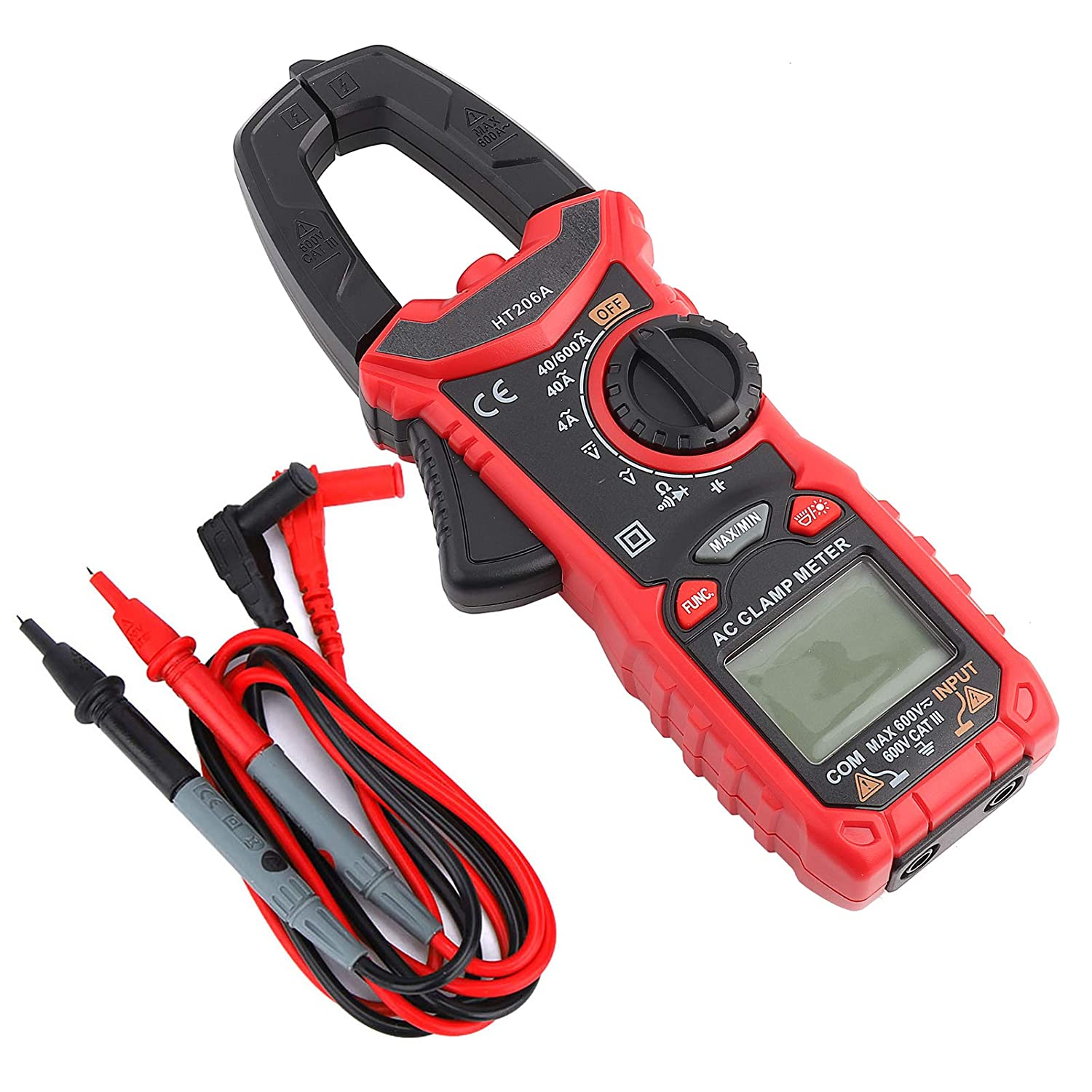 HT206D HT206 Digital Clamp Meter 6000 Counts Multimeter with AC//DC Resistance Capacitance Current Voltage Continuity Buzzer NCV