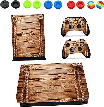Xbox One X Pegatina Decals Morbuy Skin Adhesivo de Vinilo Stickers Cover Estilo Personal Protector Console and 2 Controllers+ 10pc Silicona Thumb Grips (Caja de grano de madera): Amazon.es: Hogar