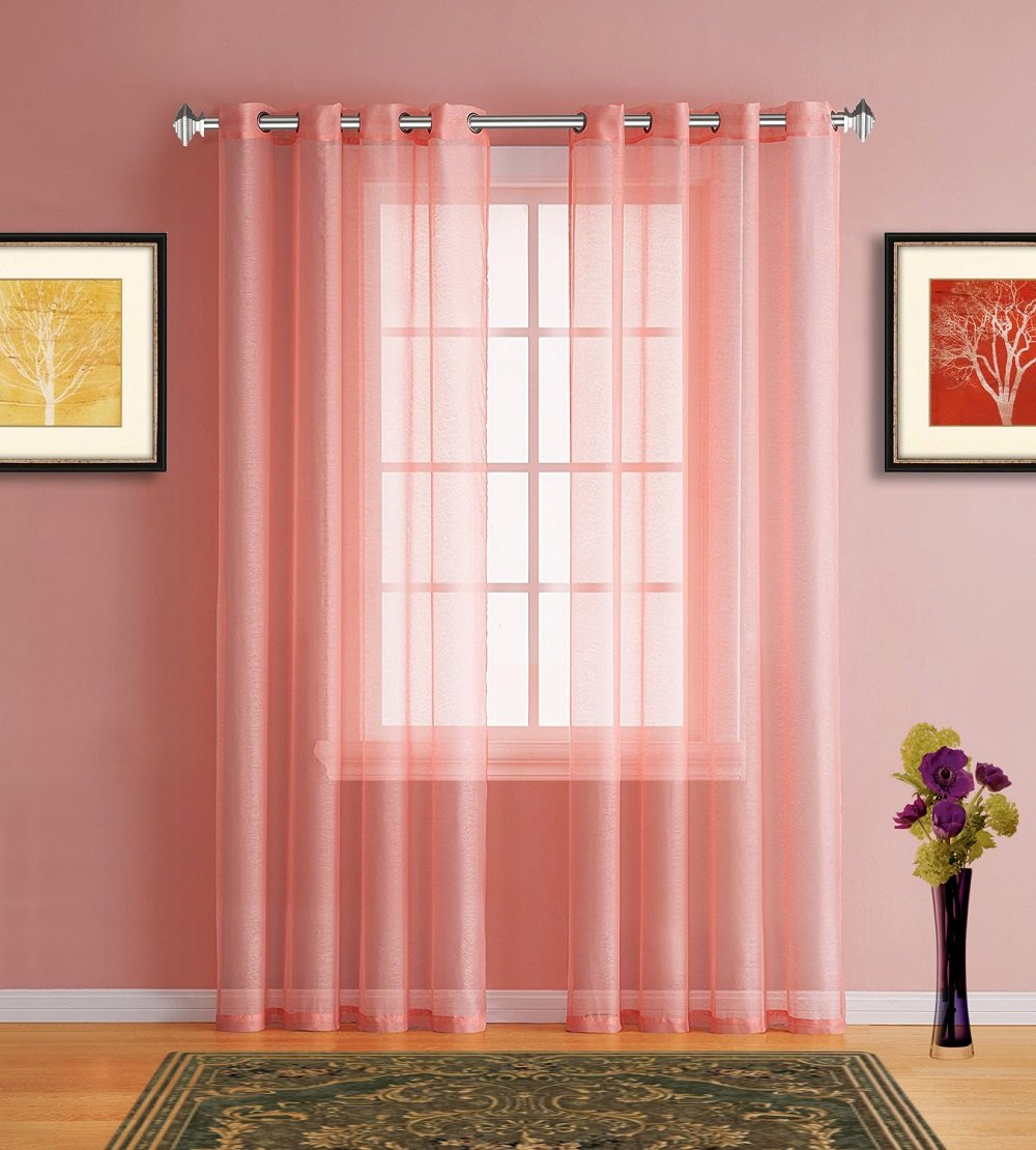 Pink Coral Sheer Window Curtains with Grommet Top for Bedroom, Kitchen, Kids Room or Living Room