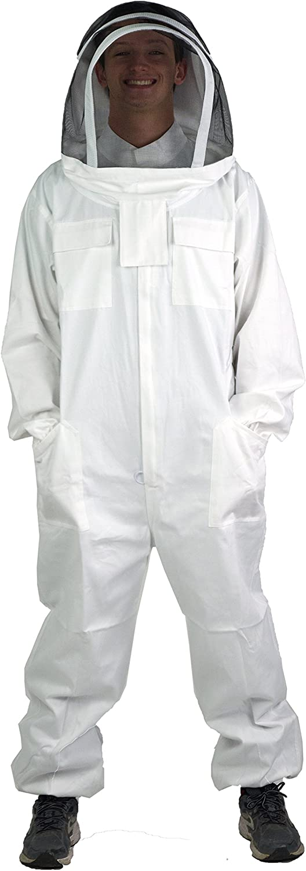 VIVO Professional Medium Cotton Full Body Beekeeping Suit with Veil Hood BEE-V1