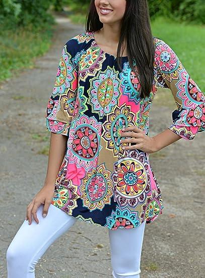 949bb7e20f0ec AiSi Robe Courte Femme Fleurie Imprimee avec Col Ronde Manche 3 4   Amazon.fr  Vêtements et accessoires