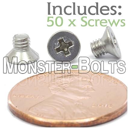 Flat Head Phillips Screw Bolt M3 x 10mm 0.50mm A2 18-8 Stainless Steel