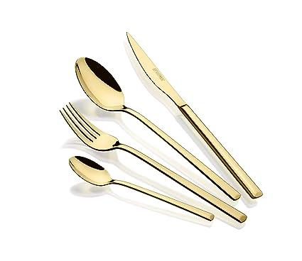 Monix Verona Gold - Set de cubiertos de 24 piezas, acero inoxidable 18/10, diseño vanguardista y moderno,acabado pulido brillante dorado, espesor 3 mm ...