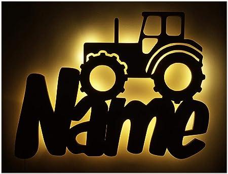 Schlummerlicht24 3d Led Möbel Deko-Licht Trekker Traktor-Lampe mit Namen  Für Männer Mann Kinder Jungen Jungs ab 0 1 2 3 4 5 6 7 8 9 Monate Jahre ...