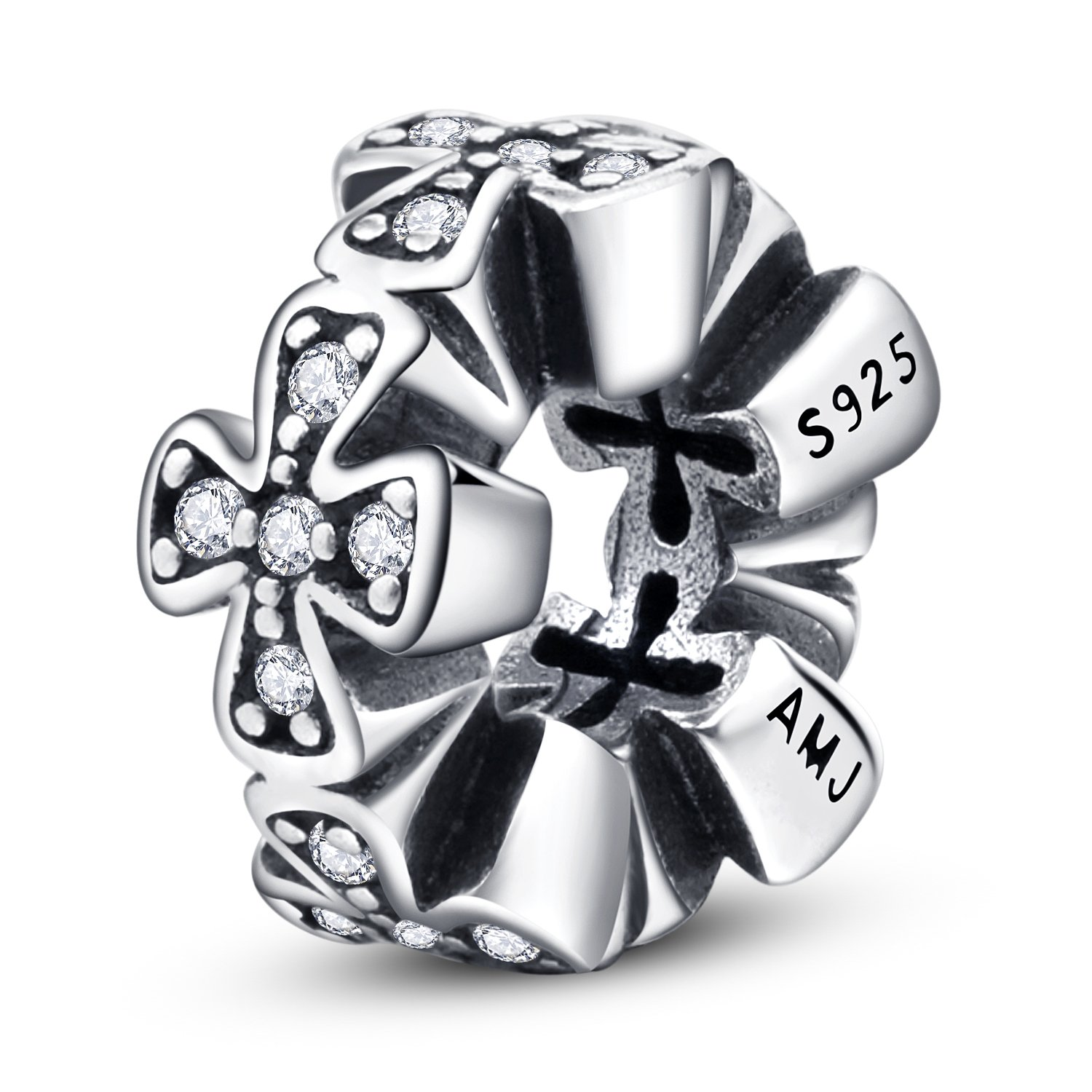 Cross Charms 925 Sterling Silver Spacers for Snake Bracelet Religion Jewelry with Clear CZ Mother's Day Gifts