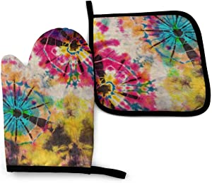Rainbow Tie Dye Vintage Oven Mitts and Potholders, Professional Water-Proof Pot Holder & Baking Gloves (2-Piece Set)