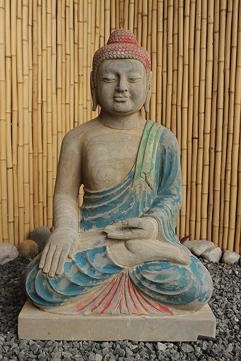 Figura de Buda tibetano para jardín (81 cm), piedra natural ...