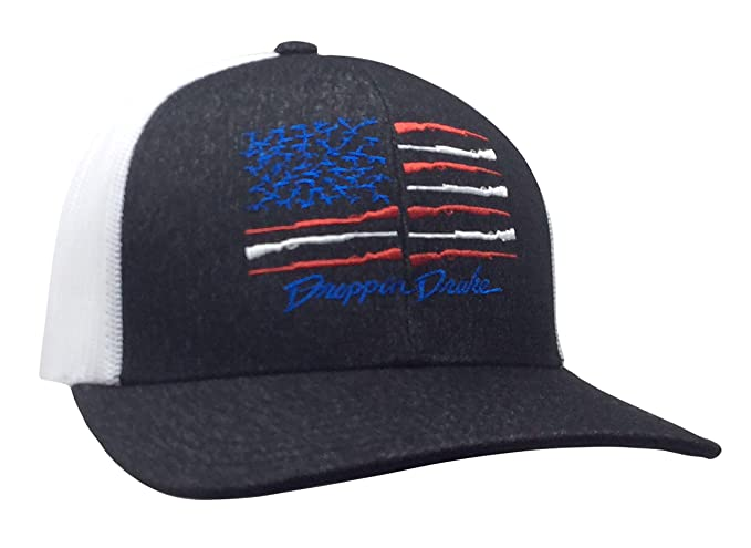 338c406d712 Droppin Drake American Duck Flag Trucker Mesh Snapback Hat - Black Heather
