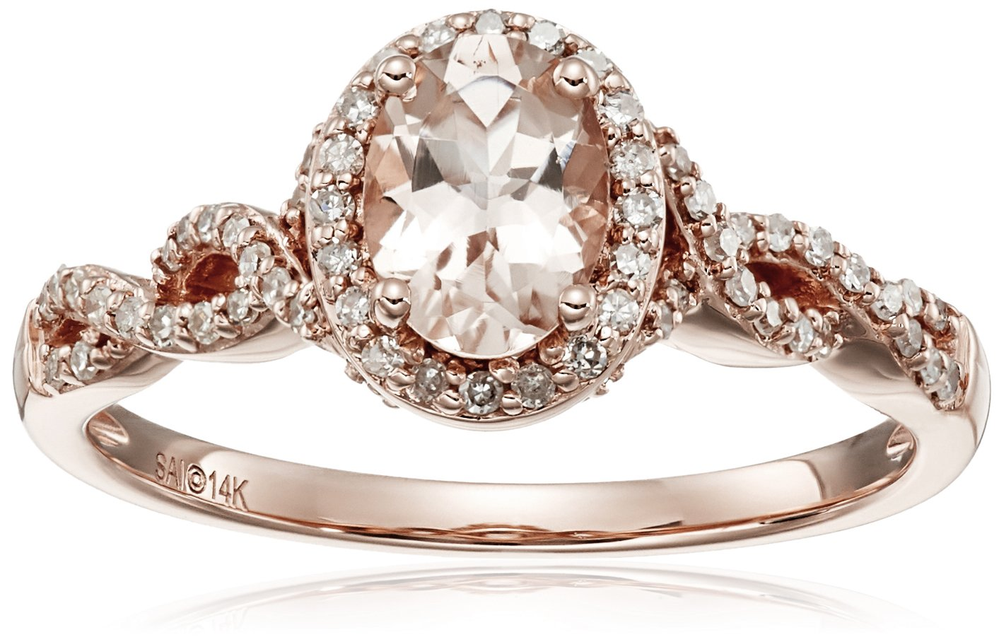 14k Pink Gold Morganite and Diamond Oval Ring (1/4cttw, I-J Color, I2-I3 Clarity), Size 7