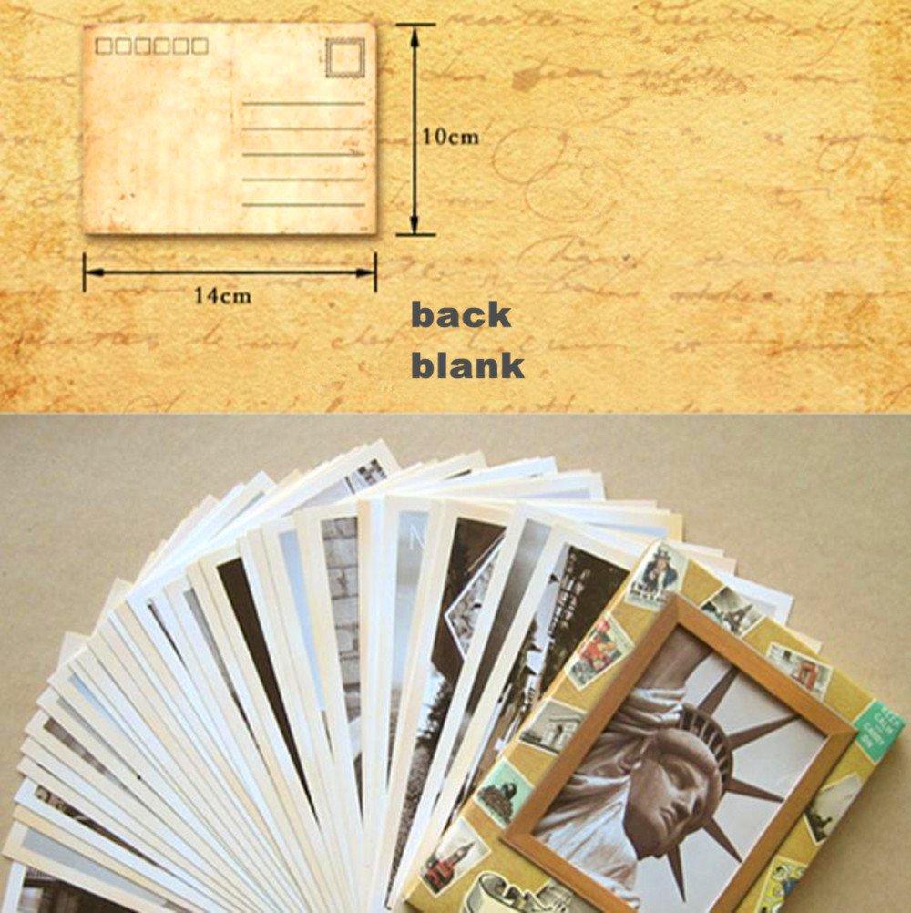 EUGU 32 Pcs 1 Set Vintage Retro Old Travel Postcards per la raccolta Cartolinee di viaggio