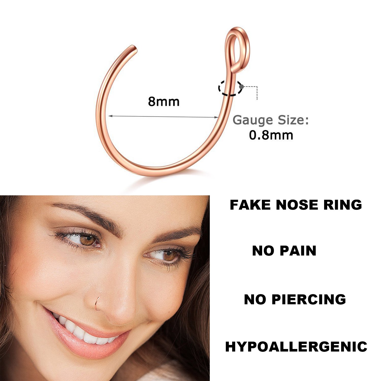 Dlla Faux Nose Rings 20g 8mm Faux Piercing Jewelry 8mm Fake Nose