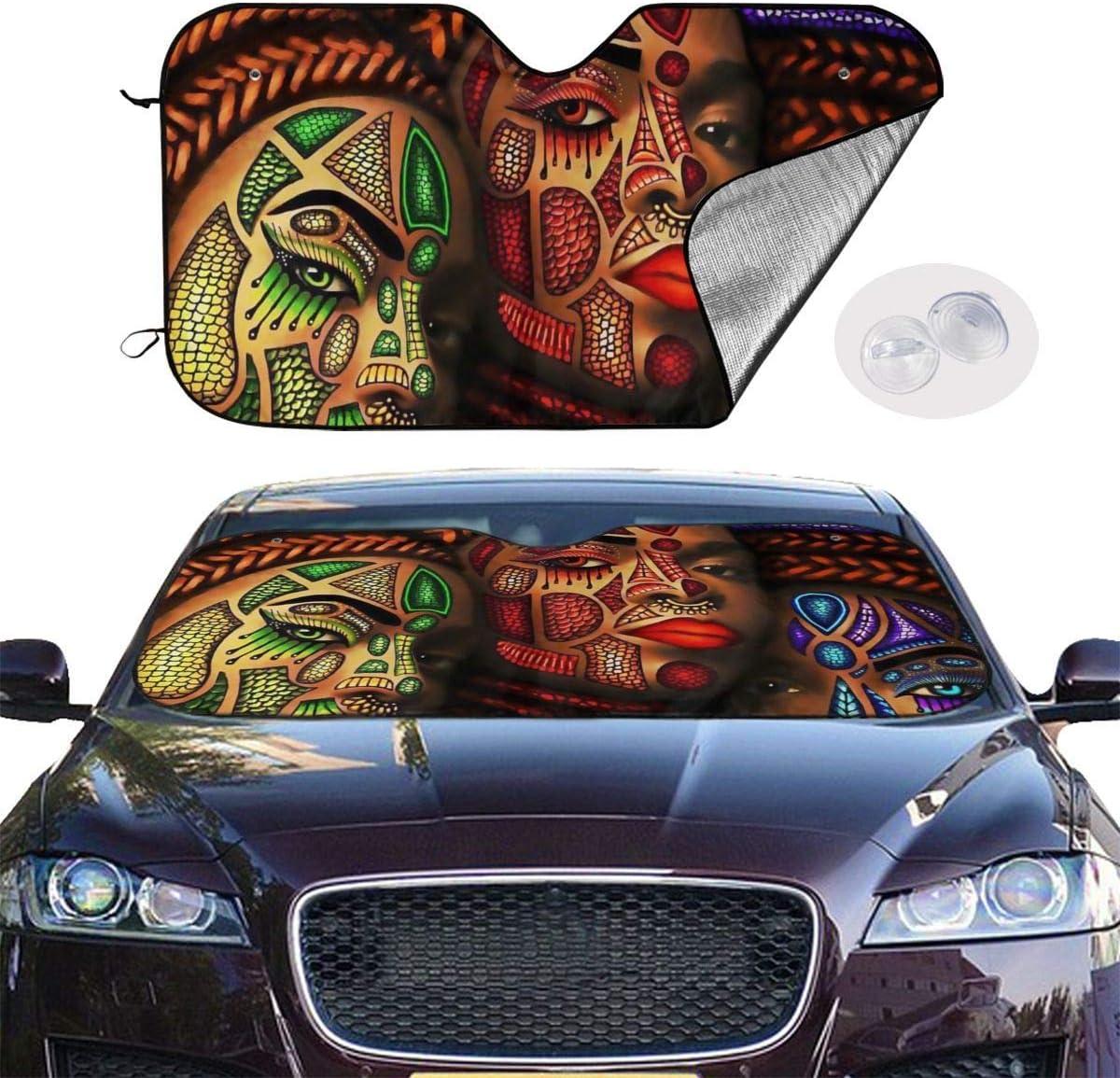 Kejbr African Art Sun Protection Car Frontscheibe Sun Shade Keep Your Vehicle Cool-UV Ray Protector Sunshad for Car Auto Sedan Truck SUV
