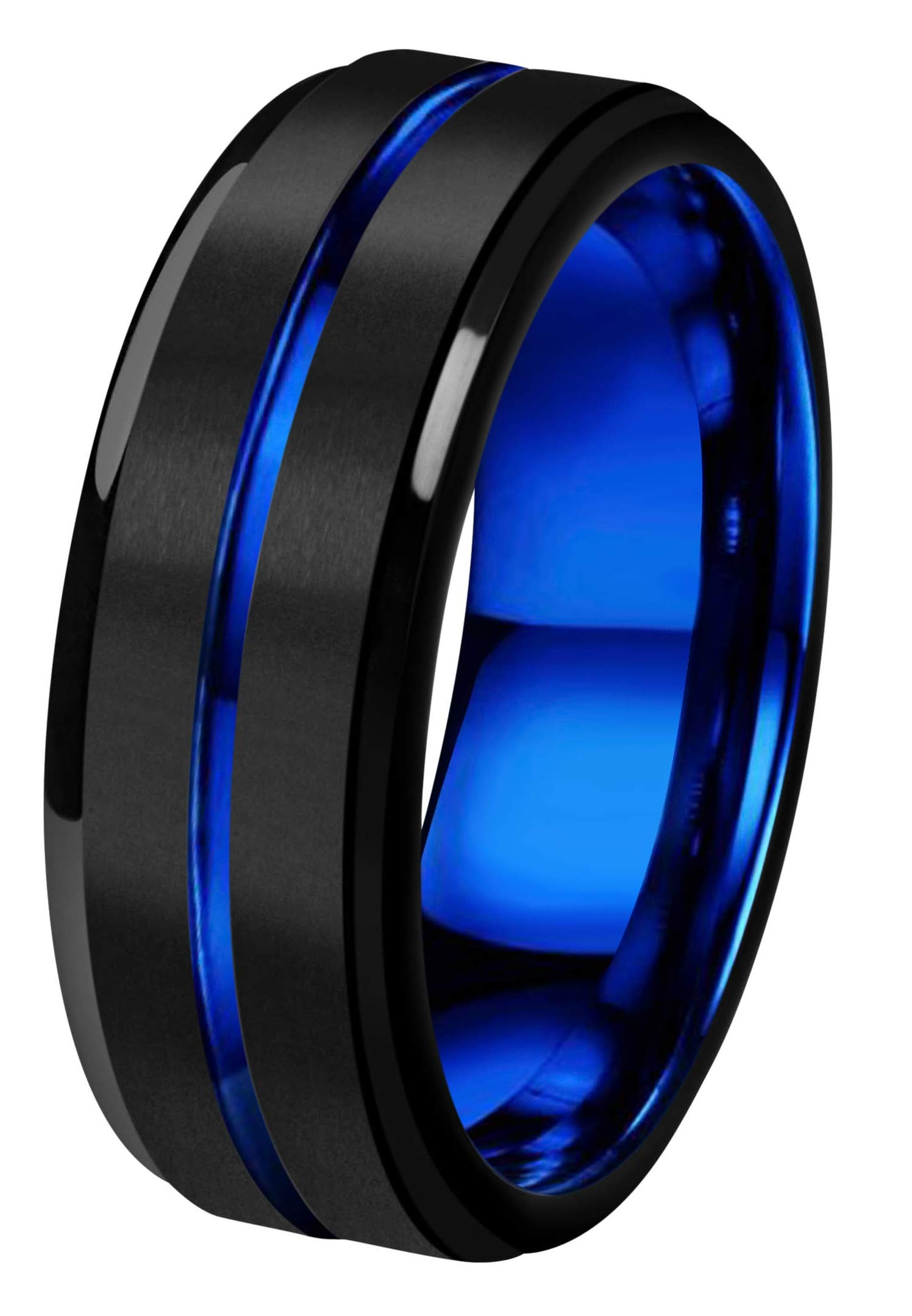 CROWNAL 8mm Blue Groove Black Matte Finish Tungsten Carbide Wedding Band Ring Step Down Engraved I Love You Size 5 to 17 (8mm,10) by CROWNAL (Image #2)