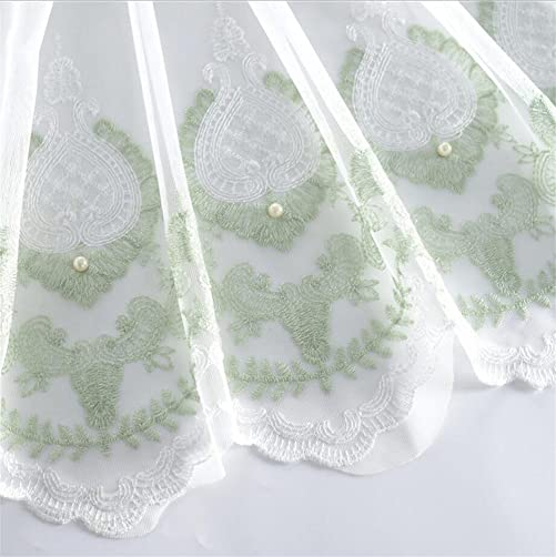 Green Embroidered Floral Pearl Lace Sheer Curtains Drapes Window Treatment