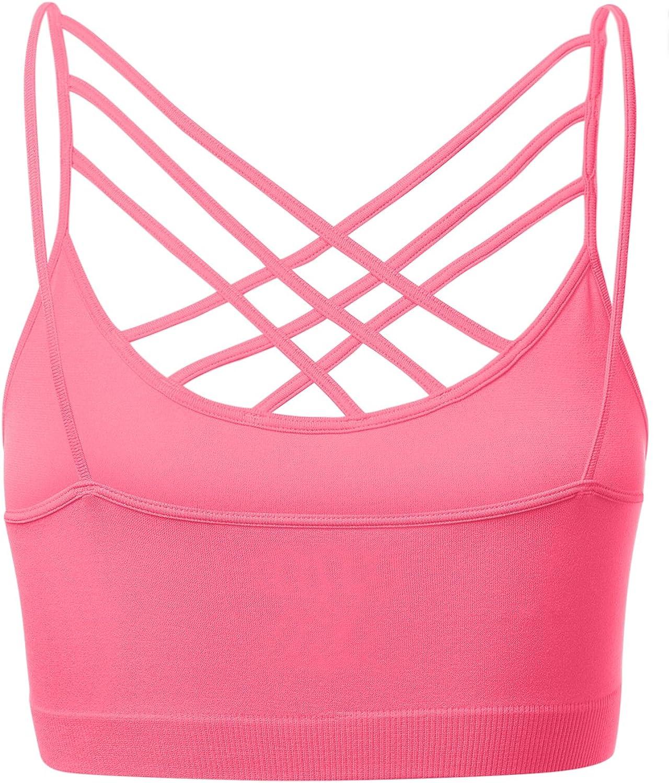 Womens Novelty Bras Seamless Triple Criss-Cross Front Bralette Sports Bra