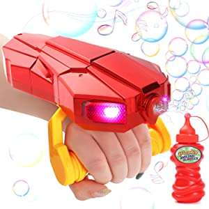 G.C Kids Automatic Bubble Machine with Light and Music Red Bubble Blower Marker for Toddlers 2000+ Bubbles Per Minute Children Present Min Gifts Toy for 2 3 4 5 6 7 8 9 10+ Years Old Girls and Boys