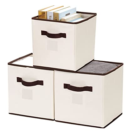 Marvelous StorageWorks Polyester Canvas Storage Cube Box, Natural, Medium, 3 Pack