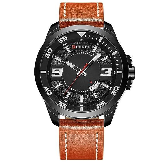 Relojes de cuarzo para hombre Curren 8213 Moda Casual Reloj de cuarzo de cuero Vestido de pulsera Relojes de pulsera: Amazon.es: Relojes
