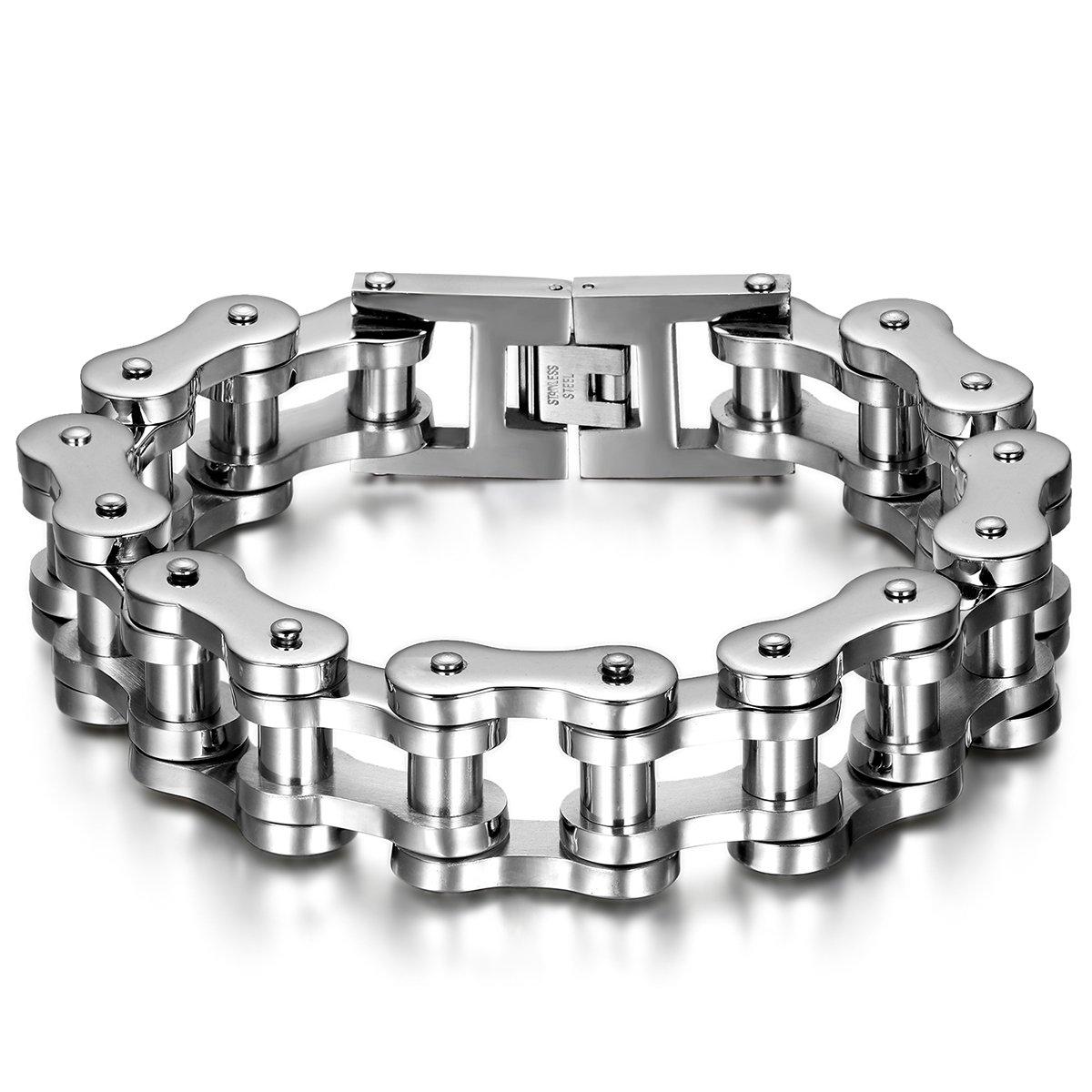 JewelryWe Men Jewelry Bracelet, impressive wide and heavy biker friendship bracelet in black silver tone stainless steel