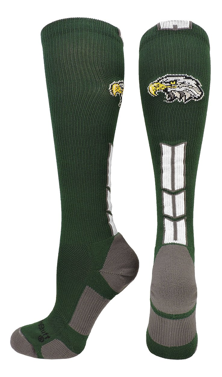 MadSportsStuff Eagles Logo Over the Calf Socks (Dark Green/White, Medium)