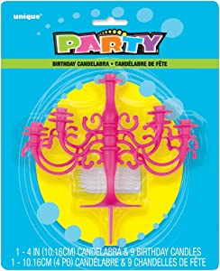 Hot Pink Candelabra Cake Topper & Birthday Party Candle Set, 1Ct.