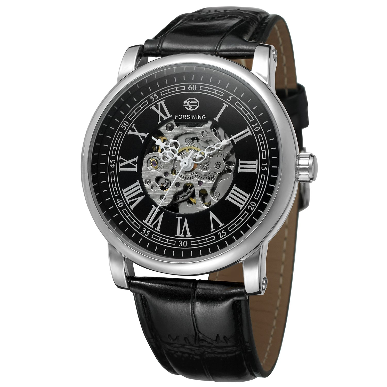 FORSININGメンズ自動移動スケルトン透明クリスタルレザーストラップ腕時計fsg8051 m3s13 B07258S19G