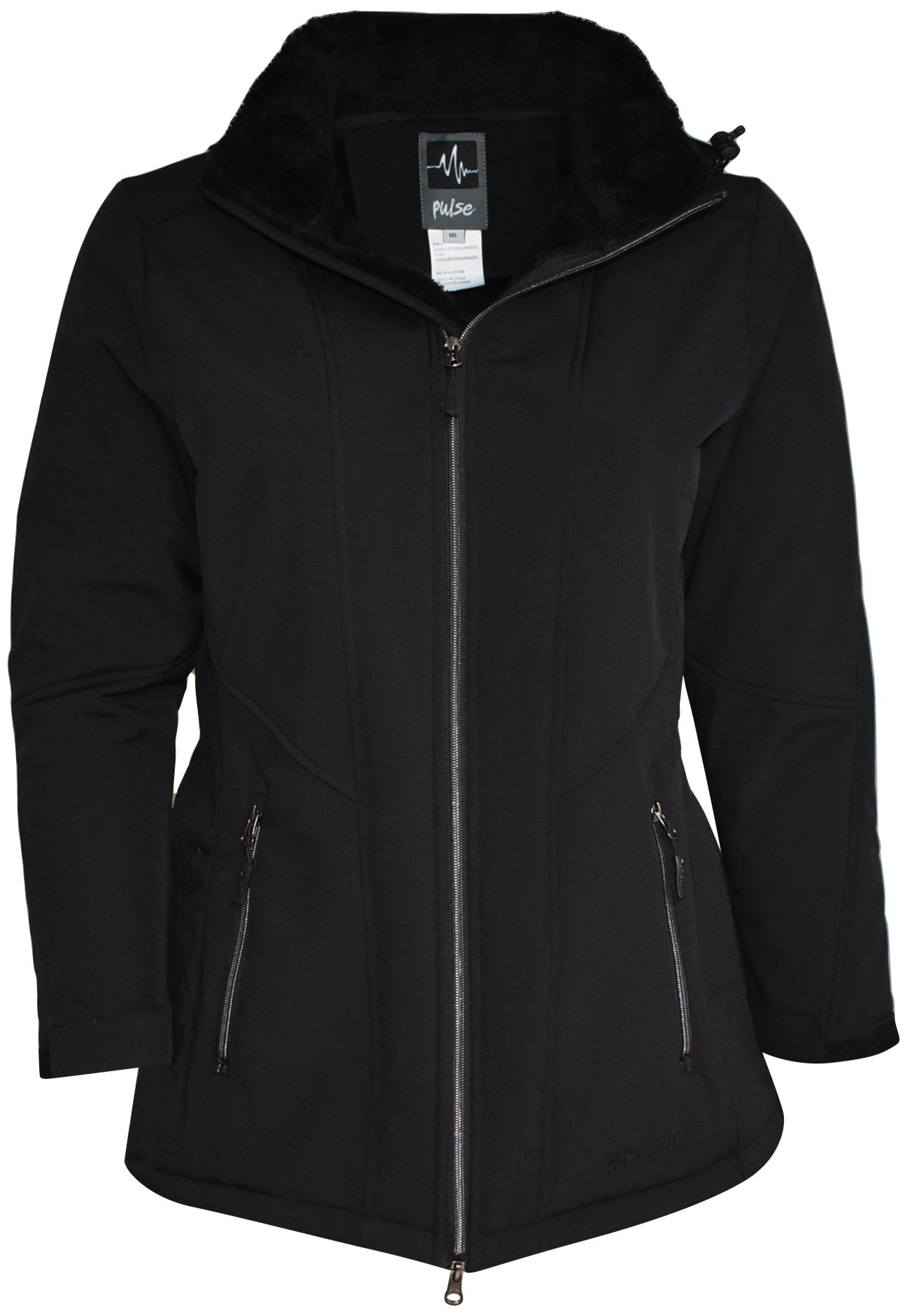 Pulse Womens Plus Size Faux Fur Insulated Soft Shell Jacket (2X (20/22), Black)