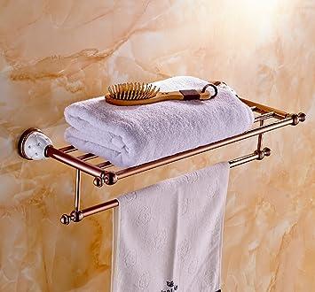 Lingyun- Estantería para Cuarto de baño Todo Estante para Toallas de Bronce Estante para Toallas de Pared (Color : Champagne Gold): Amazon.es: Hogar