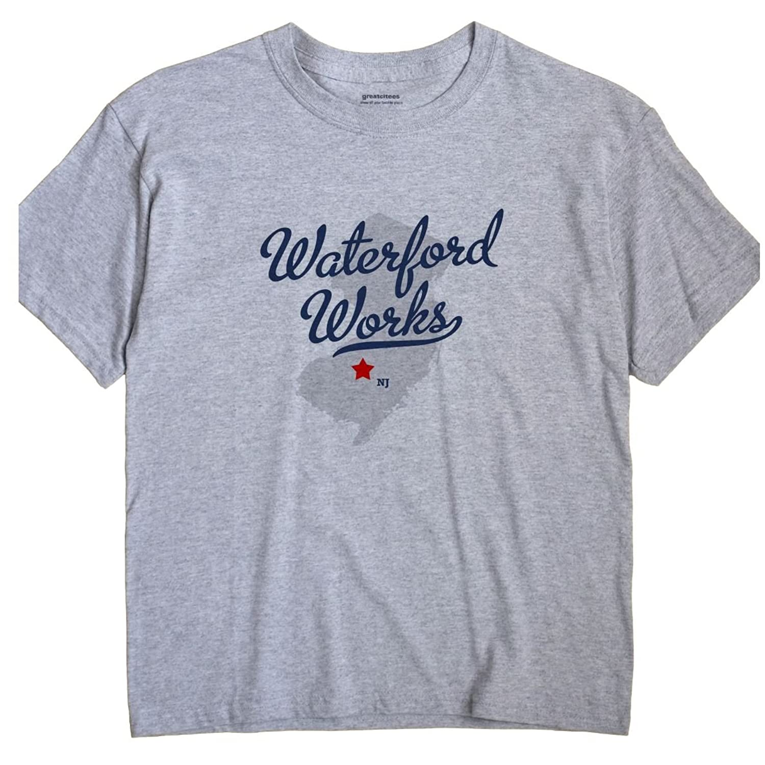 Waterford Works New Jersey NJ MAP GreatCitees Unisex Souvenir T Shirt