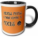 3D Rose 253943_4 Hocus Pocus I Need to Focus Lettering on an Orange Background Two Tone Ceramic Mug, Black