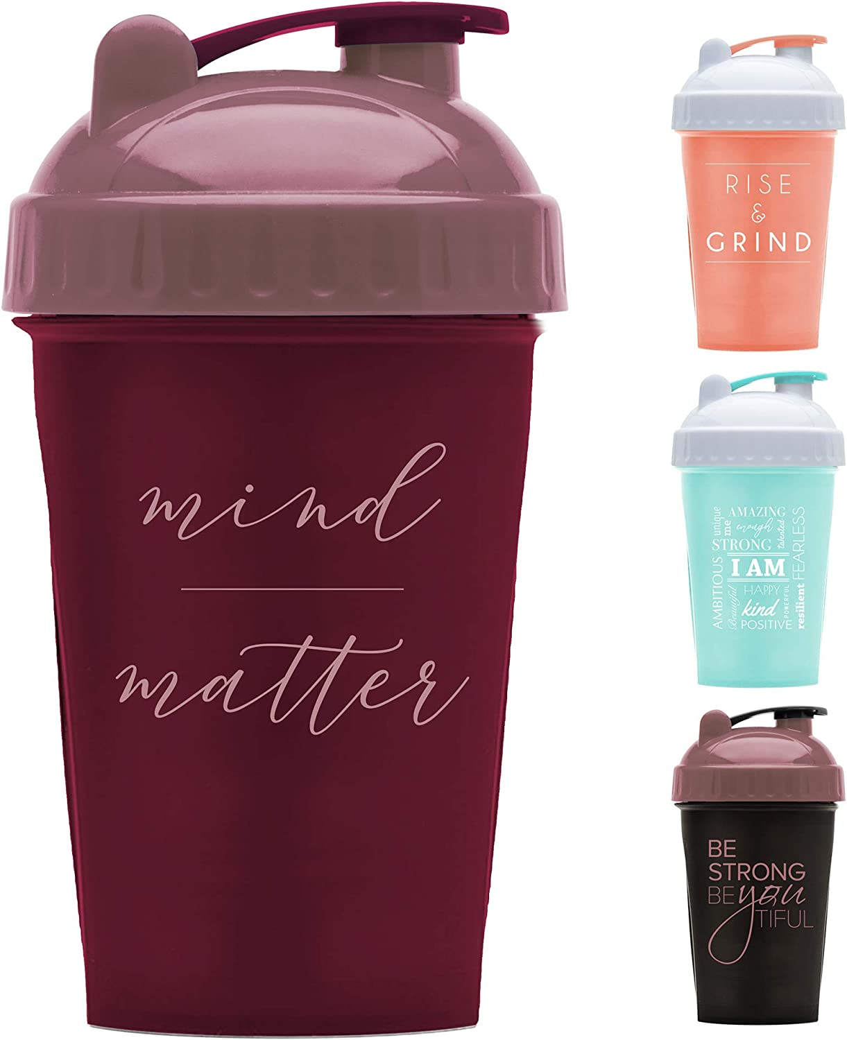 Motivational Quotes on Performa Perfect Shaker Bottle, 20 Ounce Classic Protein Shaker Bottle, Dishwasher Safe, Leak Proof, Multiple Sayings and Colors (Mind Over Matter - Maroon/Rose - 20oz)