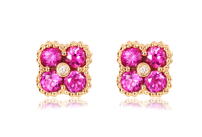 KnSam 18K Gold Earring for Women Clover Stud Earrings Sapphire & Diamond Inlaid Rose Gold