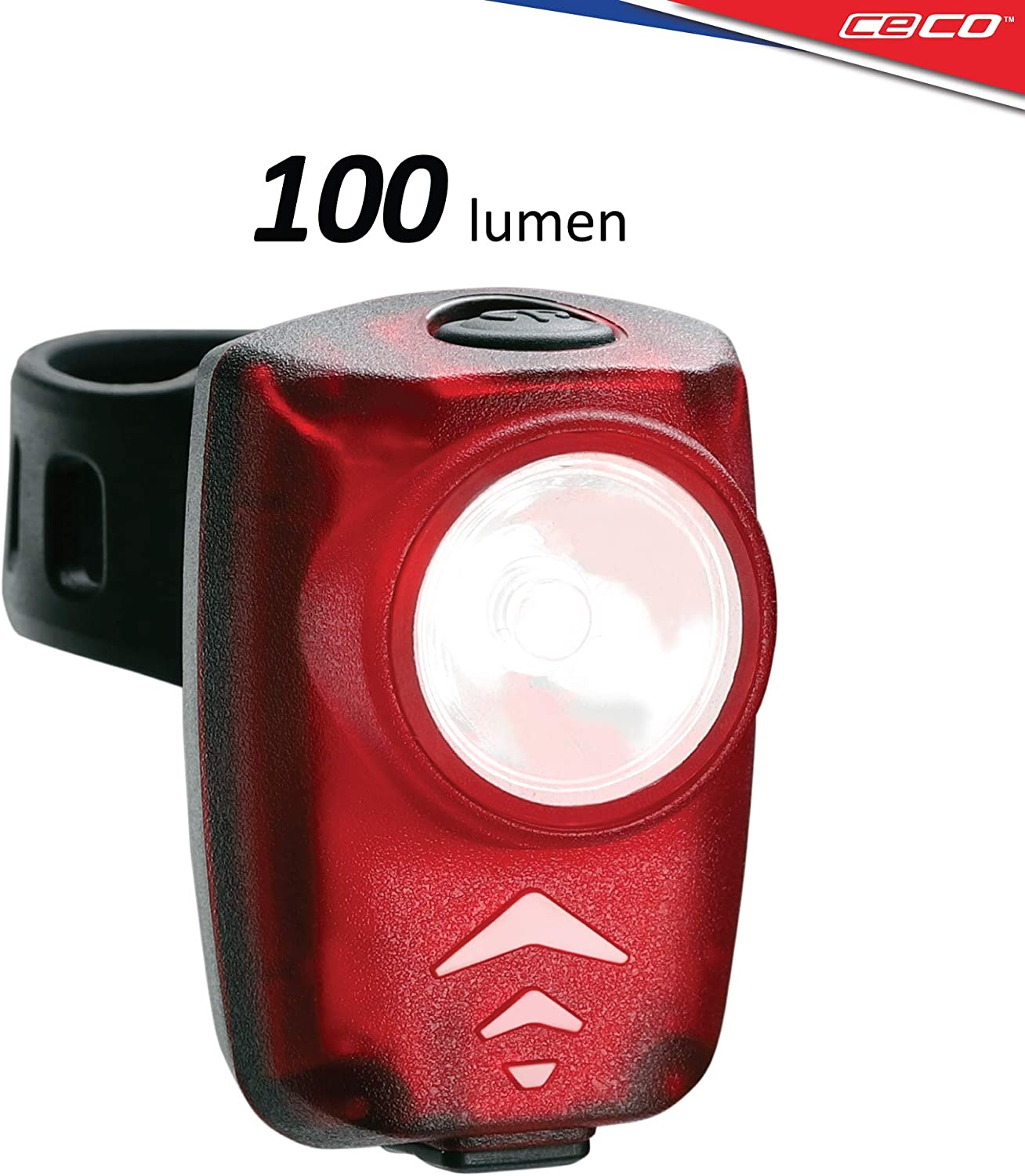 CECO-USA 100 Lumen USB Rechargeable Bike Tail Light – Super Bright Model T100 Bicycle Rear Light – IP67 Waterproof, FL-1 Impact Resistant – Red Safety Light – Pro Grade Quality Bike Tail Light