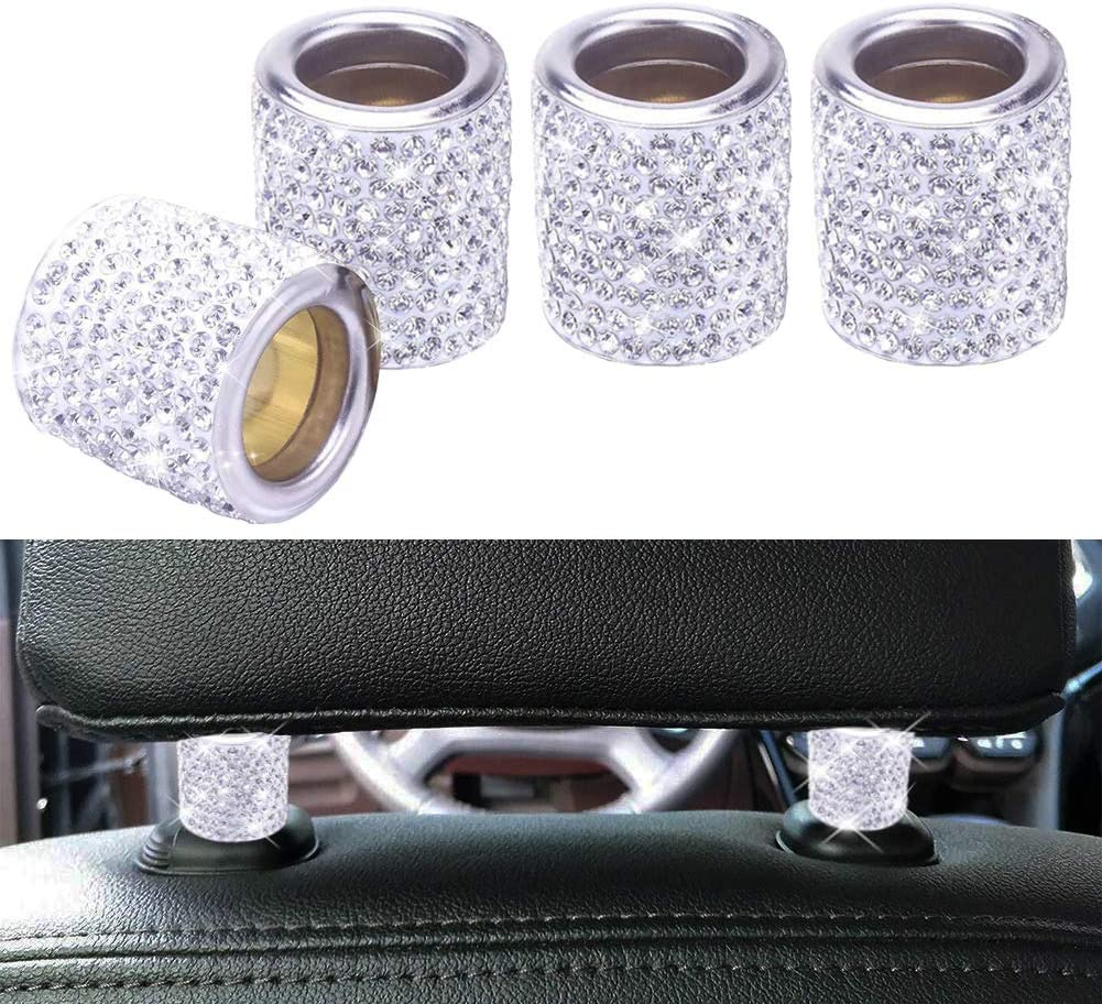 Frienda 4 Pieces Car Headrest Collars Car Head Rest Collars Rings and Bling Crystal Rhinestone Rings Car Emblem Sticker for Engine Ignition Button Key and Car Truck Interior Decoration Blings