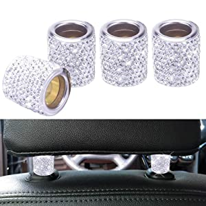 FEENM Car Headrest Head Rest Collars Rings Decor Bling Bling Crystal Diamond Ice for Car SUV Truck Interior Decoration Blings 4 Pack White