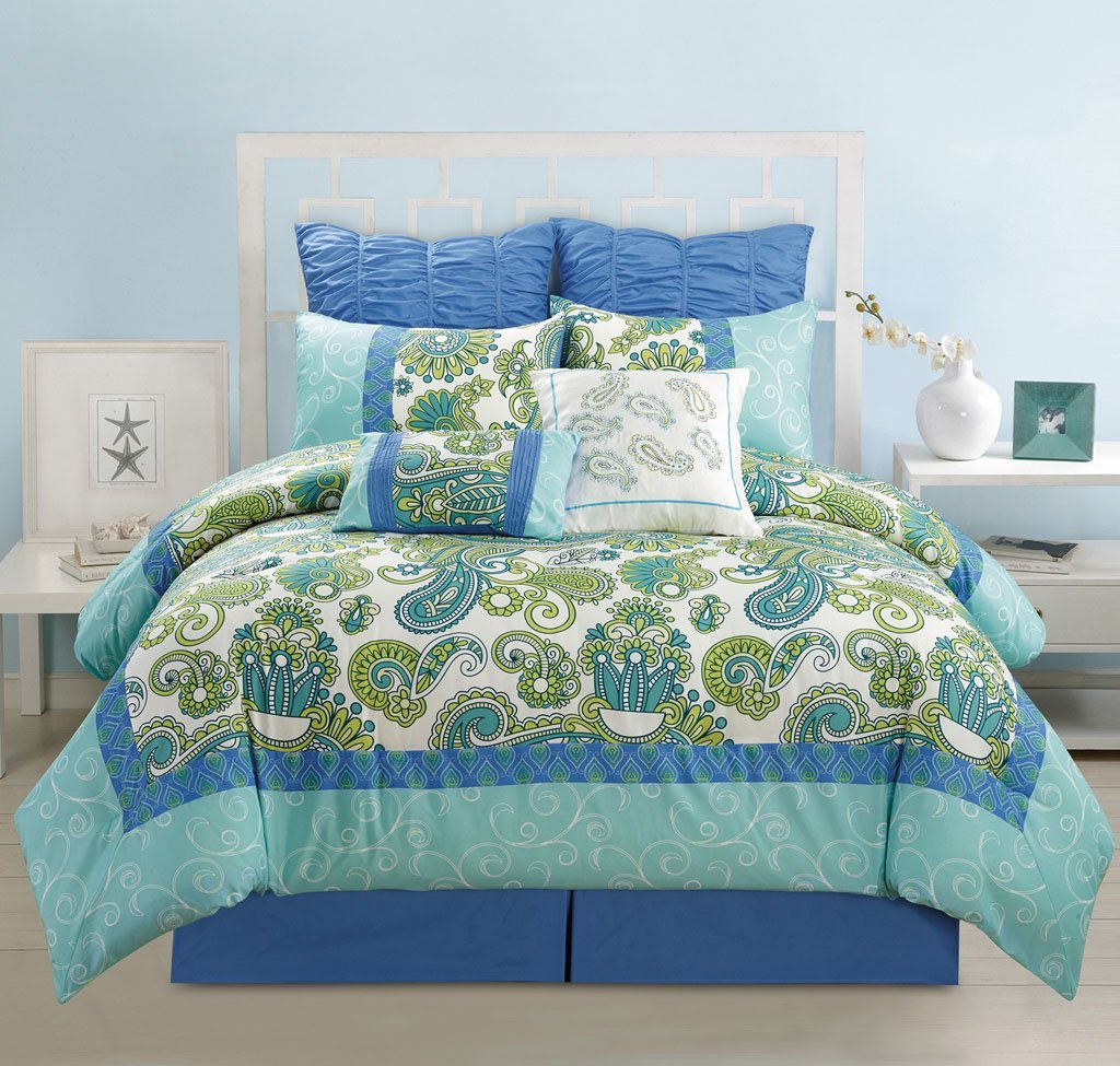 8 Piece Queen Adelisa Blue/Green/Aqua Comforter Set