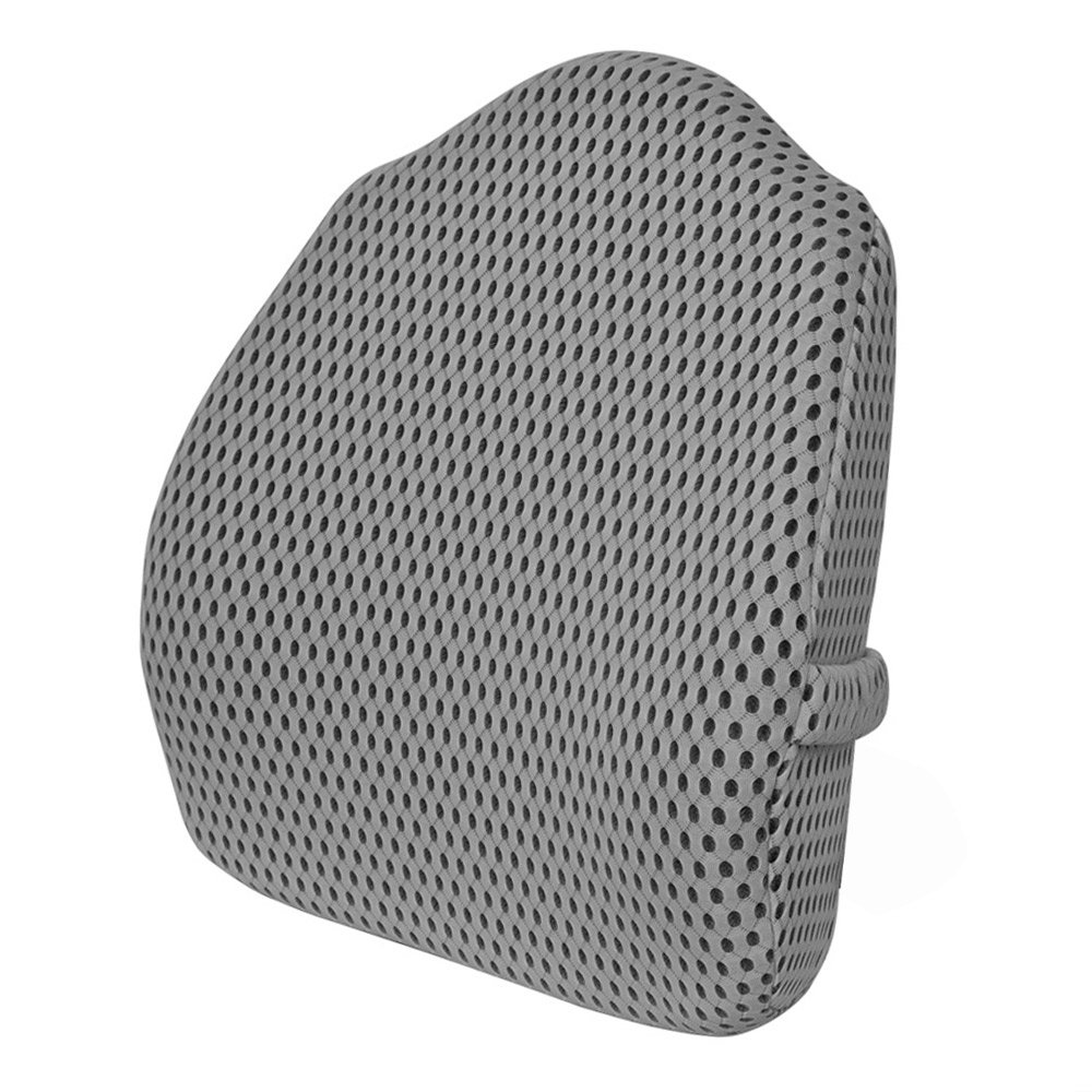 Sleep Science Memory Foam Lumbar Support Back Cushion With 3D Mesh Cover Balanced Firmness for Tall Back Pain Relief - Ideal Back Pillow for Office Chair and Car Seat - Grey